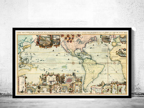 Old,World,Map,1719,New,discoveries,Vintage,Art,Reproduction,Open_Edition,World_map,old_map,antique,atlas,explorations,vintage_poster,city_plan,earth_atlas,map_of_the_world,world_map_poster,old_world,vintage_world_map, exploration, new world map