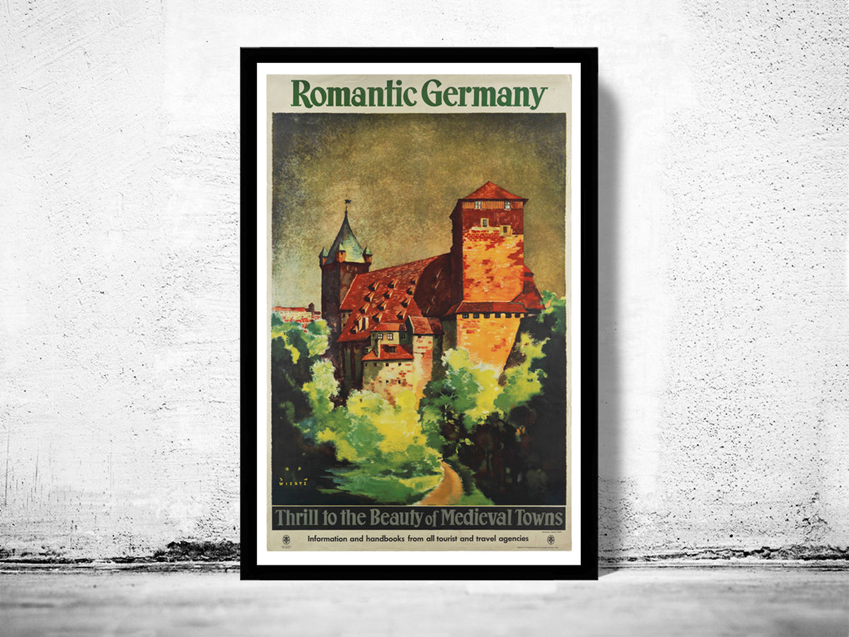 Vintage Poster of Germany, Romantic Germany Travel Poster Tourism 1930- - product image