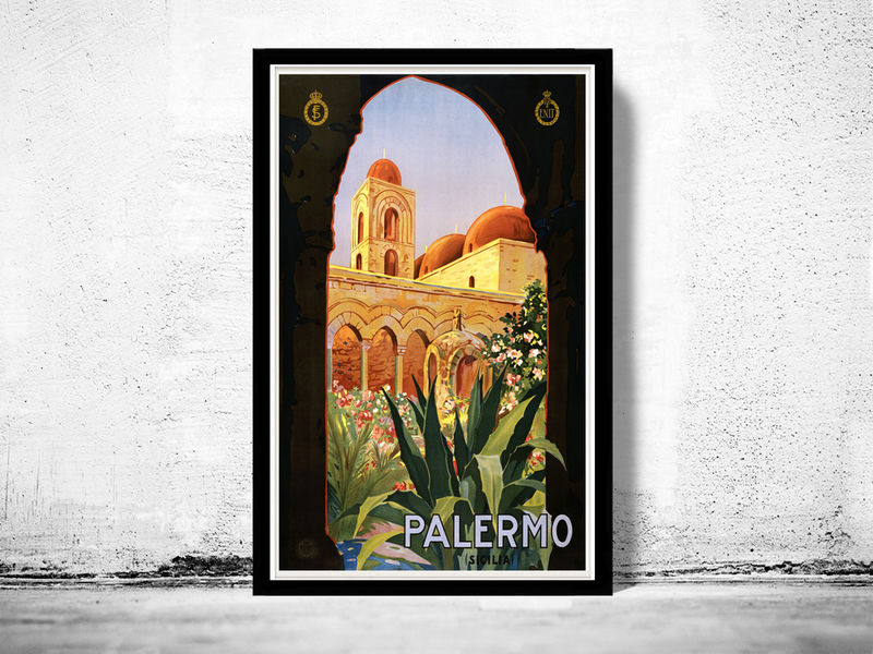 Vintage Poster of Palermo Italy 1920 Tourism poster travel - product images