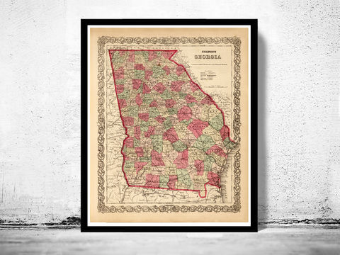 Vintage,map,of,Georgia,1886,,United,States,America,Georgia ,Georgia state, Georgia  poster, Georgia  map, map of Georgia , old map, vintage map, antique map
