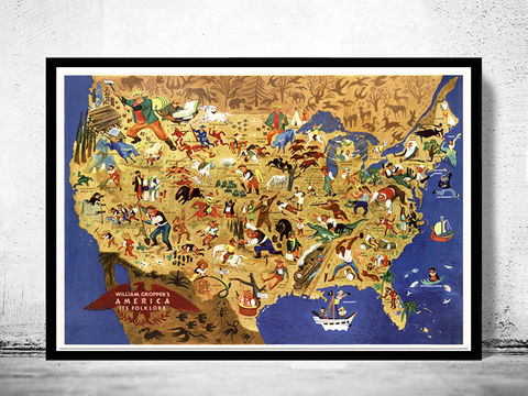 Vintage,Map,of,United,States,America,,its,folklore,,representing,U.S.,1946,Art,Reproduction,Open_Edition,old_map,antique,atlas,illustration,united_states,humour,folklore,satyrical,antique_map,united_states_map,vintage_poster,united_states_poster