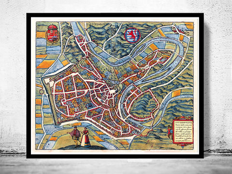 Old,Map,of,Luxembourg,Luxemburg,1581,Art,Reproduction,Open_Edition,plan,Braun,Hogenberg,medieval,budapest,gravure,luxembourg,Letzebuerg,old_map_luxemburg,luxembourg_map,luxembourg_vintage