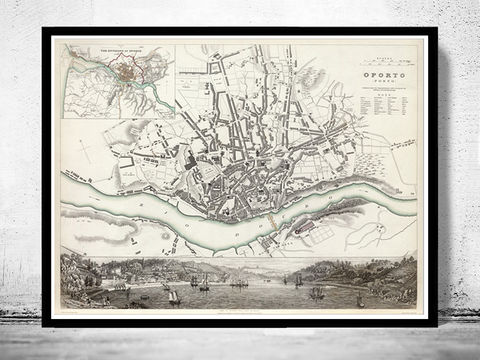 Old,Map,of,Oporto,Porto,with,gravures,Portugal,1833,Art,Reproduction,Open_Edition,vintage,illustration,gravure,vintage_map,city_plan,oporto,porto,rio_douro,old_map,vintage_poster