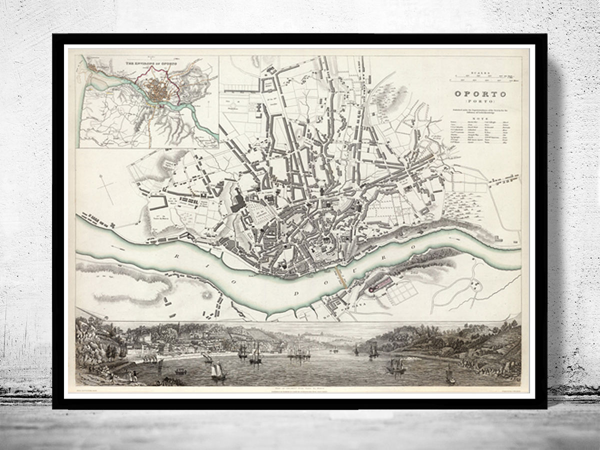 Old Map of Oporto Porto with gravures Portugal 1833  - product images  of