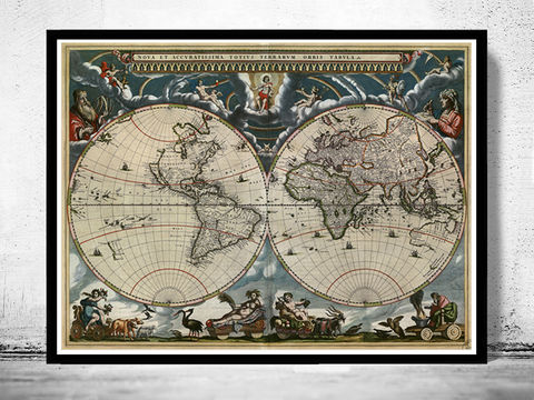 Old,World,Map,1684,Vintage,Art,Reproduction,Open_Edition,old,vintage,World_map,old_map,antique,atlas,1686,Joan_Blaeu,map_of_the_world,vintage_world_map