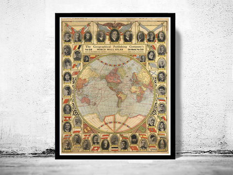 Vintage,Map,of,United,States,World,Leaders,1921,united states map, united states poster, united states of america, USA map, map of US, map of United states