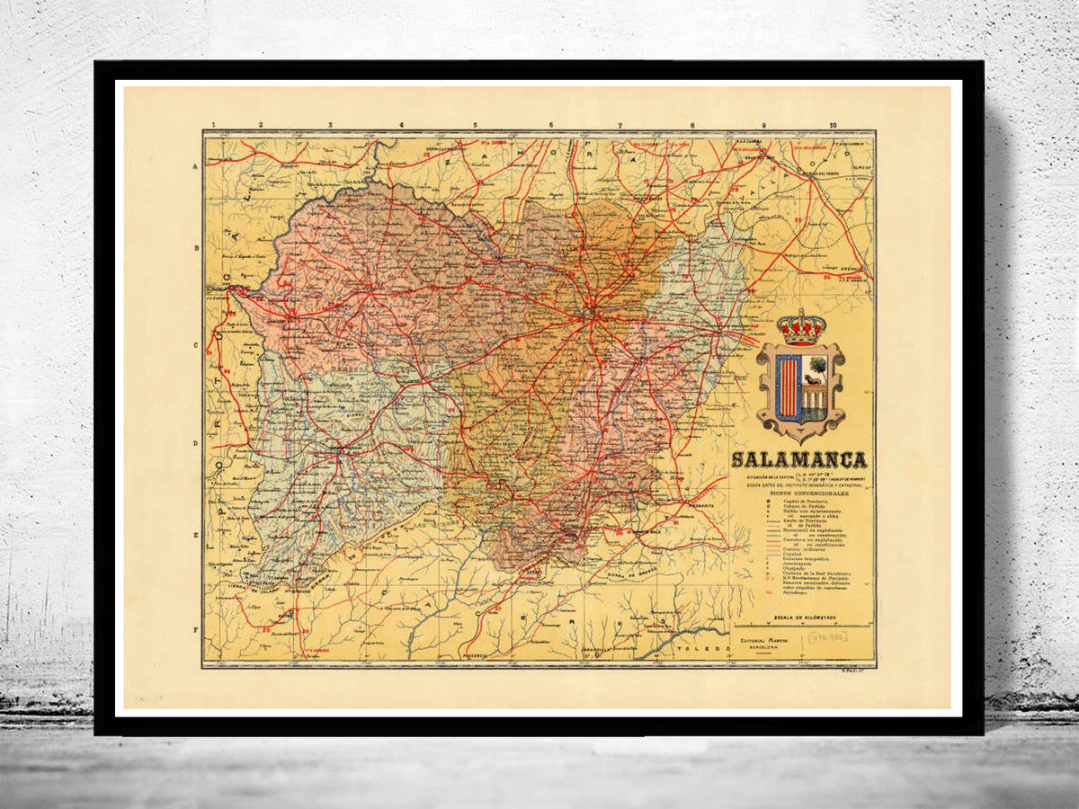 Old Map of Salamanca Region 1900 Spain - product images  of