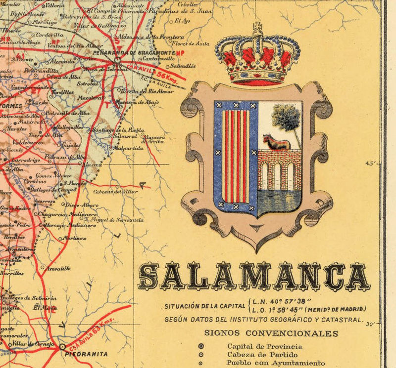 Old Map of Salamanca Region 1900 Spain - product image