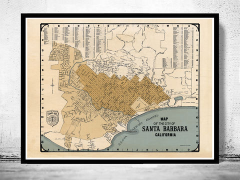 Old,map,Santa,Barbara,California,1920,santa barbara, santa barbara california, santa barbara map, map of santa barbara,  map of santa barbara, map, poster, santa barbara poster