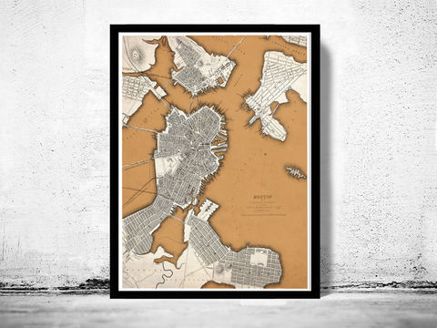 Vintage,Map,of,Boston,1842,,United,States,America,Charlestown,,Roxbury,Massachusetts,Art,Reproduction,Open_Edition,vintage,United_States,city_map,retro,antique,old_map,vintage_map,boston_map,map_of_boston,boston_poster,boston_decor