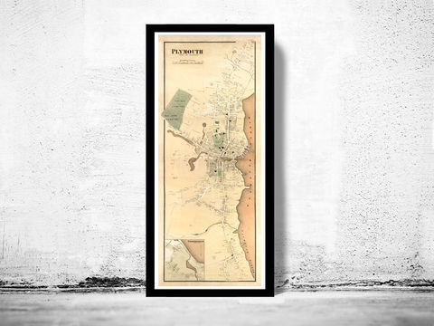 Old,Map,Plymouth,Massachusetts,1897,plymouth, map, old map, plymouth massachussets, antique map