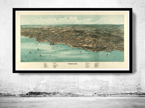 Old,Map,of,Plymouth,Massachusetts,1910,Panoramic,view,plymouth, map, old map, plymouth massachussets, antique map
