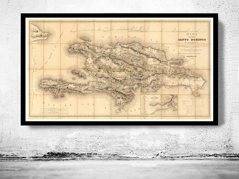 Old,Map,Dominican,Republic,and,Haiti,1858,Vintage,Santo Domingo, Hispaniola Island, Haiti, Dominican Republic, Dominican Republic map, Haiti map, Dominican Republic Poster, vintage map