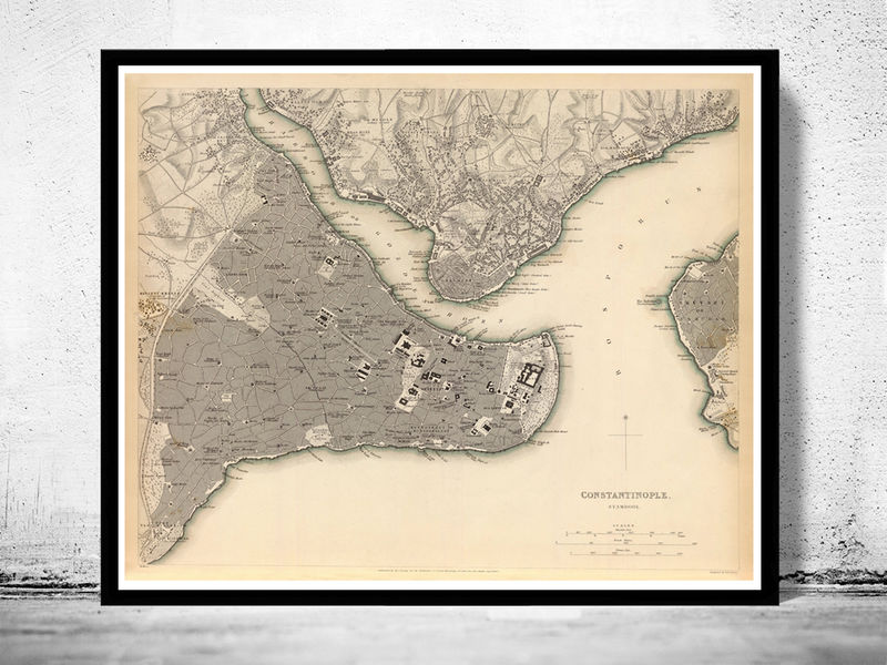 Old Map of Istanbul Constantinople, Turkey 1840 Vintage map - product image