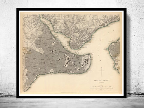 Old,Map,of,Istanbul,Constantinople,,Turkey,1840,Vintage,map,constantinople, istanbul, istanbul map, istanbul poster, map of istanbul, map of constantinople, turkey, turkey poster, old map