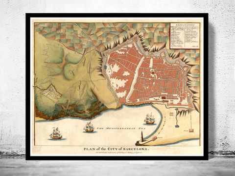 Old,Map,of,Barcelona,Spain,1740,Art,Reproduction,Open_Edition,vintage_map,city_plan,england,old_map,engraving,barcelona_map,map_of_barcelona,cataluna,spain,streets,old_map_of_barcelona,guia_de_Barcelona,barcelona_poster, barcelona map, map of barcelon, old maps for sale