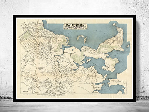 Old,Map,of,Quincy,1897,Massachusetts,Vintage,quincy, massachussets, quincy map, map of quincy, quincy decor