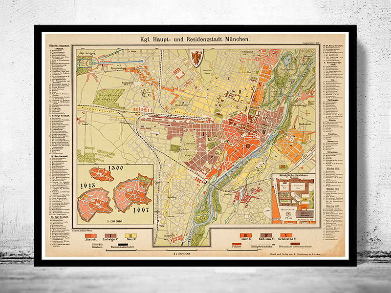 Old Map of Munich Munchen with gravures, Germany 1890 - product image