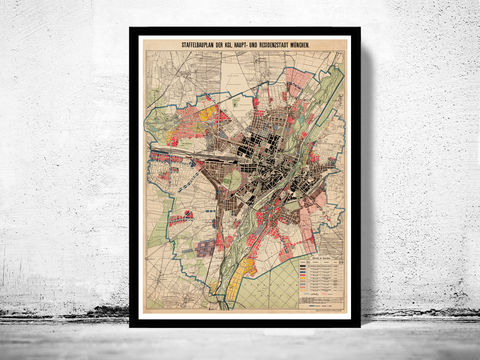 Old,Map,of,Munich,Germany,1900,Vintage,munich map, map of munich, old map munich, munchen, munster, munster poster, munster germany, old map, deutshland, germany, munster map, map of munster