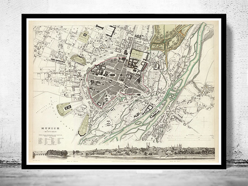 Old Map of Munich Munchen with gravures, Germany Deutshland 1832 Vintage - product image