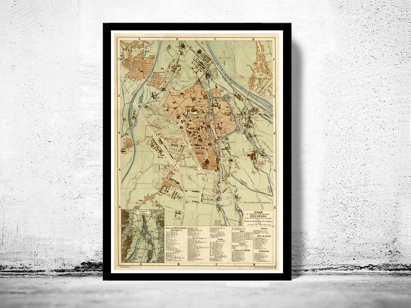 Old Map of Augsburg, Bavaria Germany 1888 - product image