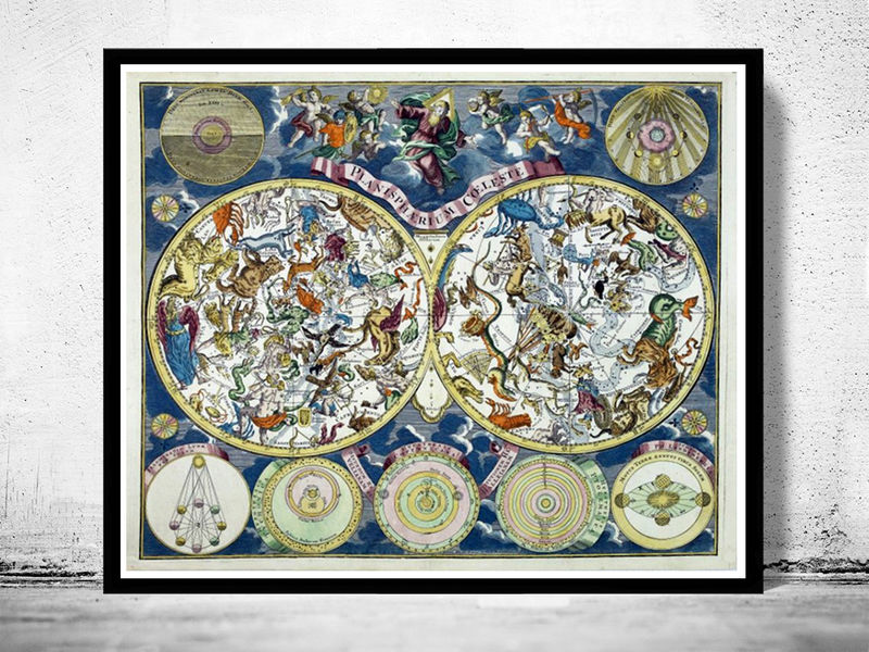 Antique Celestial Map Vintage astronomy 1750 - product image