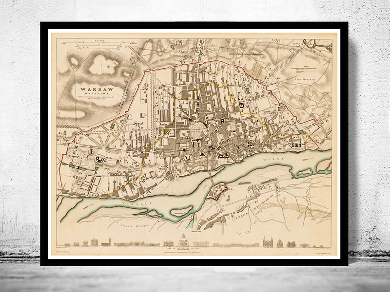 vintage Map City Plan of Warsaw with gravures, Poland 1831 Vintage - product image