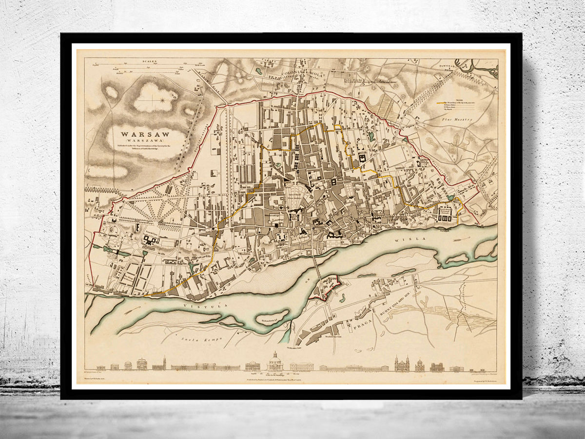 Old Map of Warsaw Poland 1831 Vintage Map - product images  of