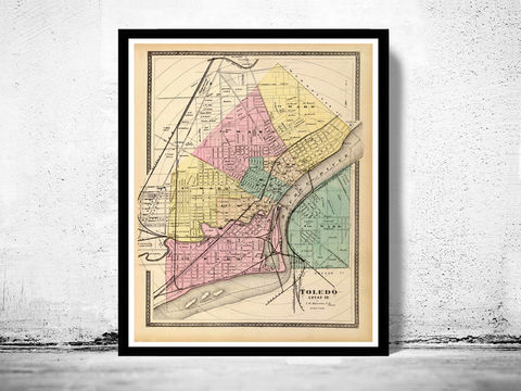 Toledo,Ohio,1872,Old,map,antique,toledo, map of toledo, toledo city, toledo map, toledo ohio, panoramic view, birdseye, maps and prints, old map, toledo poster