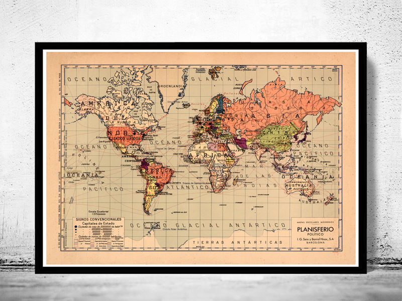 Old World Map Atlas Vintage World Map 1940 - product image