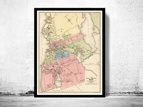 Old,Map,of,Fall,River,1878,Massachusetts,Vintage,fall river, massachussets, fall river map, map of fall river, fall river decor, fall river poster