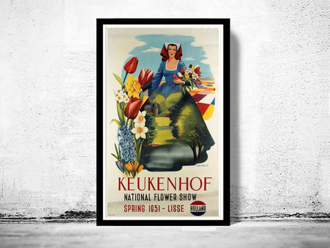 Vintage,Poster,of,Holland,Netherlands,,National,Flower,Show,1951,Art,Reproduction,Open_Edition,vintage_poster,musicians,retro_poster,travel_poster,touristic_poster,netherlands_poster,holland_decor,tourism_holland,holland_retro,holland_travel,holland,holland_poster