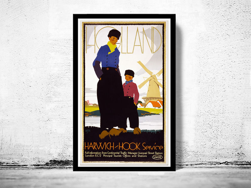 Vintage Poster of Holland Netherlands 1920 Tourism poster travel - product image