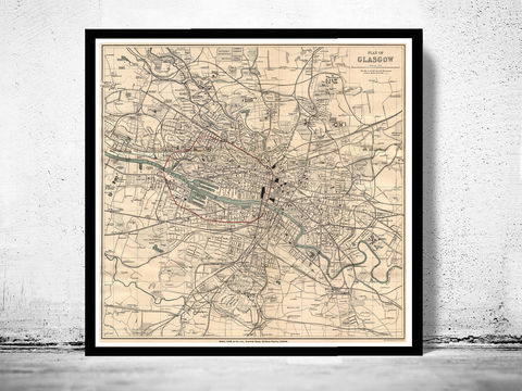 Old,Map,of,Glasgow,Scotland,1910,Vintage,glasgow, map of glasgow, glasgow plan, glasgow poster, glasgow map, glasgow scotland