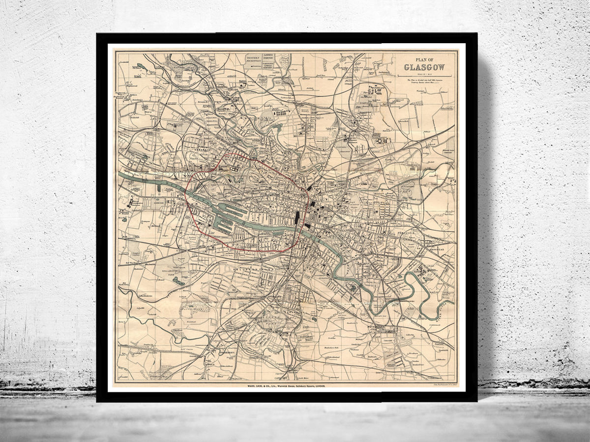 Old Map of Glasgow Scotland 1910 Vintage Map - product images  of