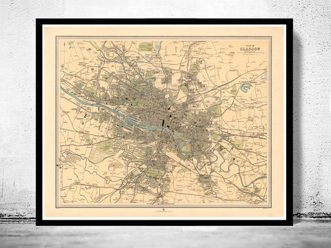 Old,Map,of,Glasgow,Scotland,1912,Vintage,glasgow, map of glasgow, glasgow plan, glasgow poster, glasgow map, glasgow scotland