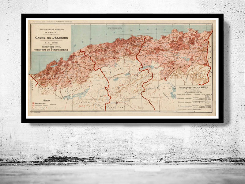 Old Map of Algeria Algerie 1870 Vintage map - product image