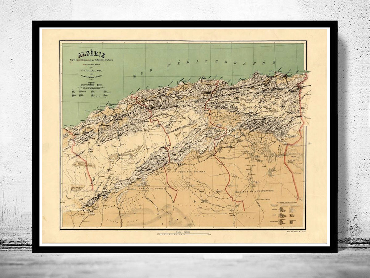 Old Map of Algeria Algerie 1884 Vintage map - product images  of