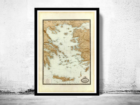 Old,Map,of,Greek,Islands,Greece,1862,greek islands map, santorini, greek islands,creta, creta island, island of creta,creta greece, creta greece, map of creta island, creta island poster, vintage poster, greece map, greek art, athens poster, antique print, antique map