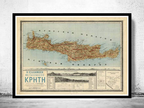 Old,Map,of,Creta,Island,Greece,1897,creta, creta island, island of creta,creta greece, creta greece, map of creta island, creta island poster, vintage poster, greece map, greek art, athens poster, antique print, antique map
