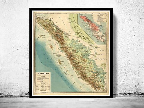 Old,Map,of,Sumatra,Island,Indonesia,1922,Vintage,indonesia map, maps for sale, antique maps, maps reproductions, sumatra, sumatra map, map of sumatra, sumatra indonesia, sumatra poster
