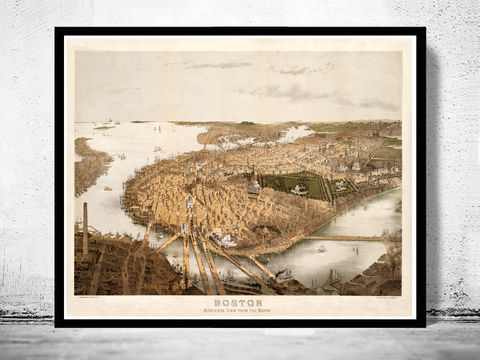 Panoramic,View,of,Old,Boston,,Massachusetts,1877,Art,Reproduction,Open_Edition,illustration,United_States,Boston,city_map,retro,antique,Roxbury,old_map,vintage_map,boston_map,birdseye_view,boston_city