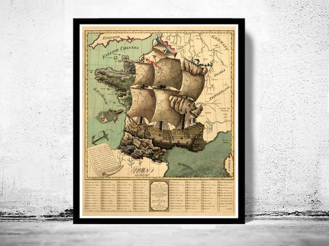 Old,Map,of,France,represented,under,the,form,a,ship,1796,Art,Reproduction,Open_Edition,map,old,vintage,old_map,antique,atlas,illustration,Paris,retro,kingdom_of_France