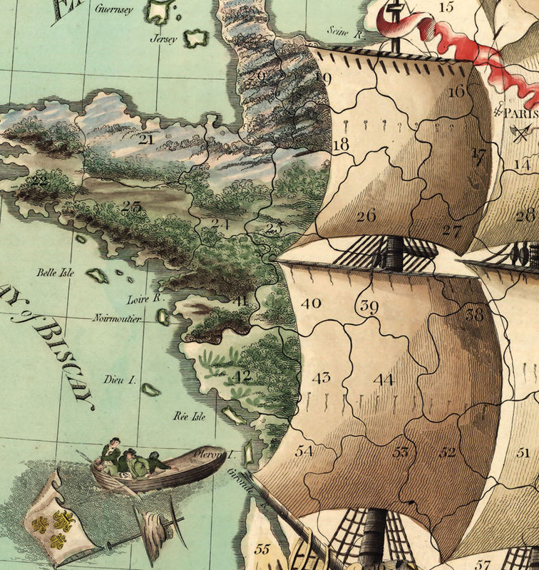 Old Map of France represented under the form of a ship 1796 - product image