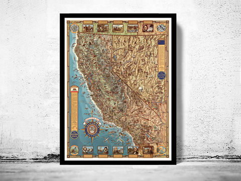 Vintage,Map,of,California,and,Nevada,Pictorial,Art,Reproduction,Open_Edition,vintage,United_States,antique,vintage_california,old_california_map,map_of_california,retro_california,california_poster,america,nevada,nevada_map,california_map,old_map, historic map, old maps and prints, old maps and poster