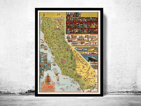Vintage,Map,of,California,1945,Comic,History,Art,Reproduction,Open_Edition,vintage,United_States,antique,vintage_california,old_california_map,map_of_california,retro_california,california_poster,america,nevada,nevada_map,california_map,old_map, historic map, old maps and prints, old maps and poster