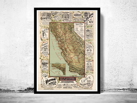 Vintage,Map,of,California,roads,for,cyclers.1875,Art,Reproduction,Open_Edition,vintage,plan,United_States,antique,roads_for_cyclers,vintage_california,old_california_map,map_of_california,retro_california,california_poster,cycling,america, california map