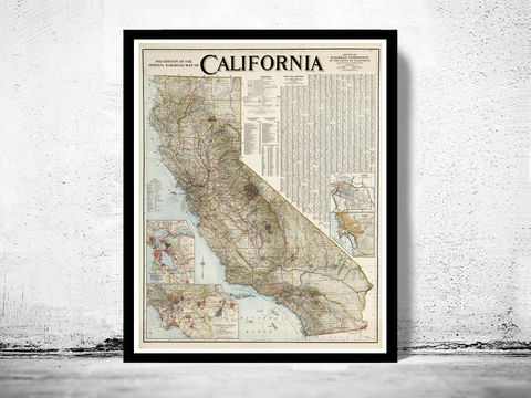 Old,Map,of,California,1926,Art,Reproduction,Open_Edition,vintage,United_States,antique,vintage_california,old_california_map,map_of_california,retro_california,california_poster,america,nevada,nevada_map,california_map,old_map