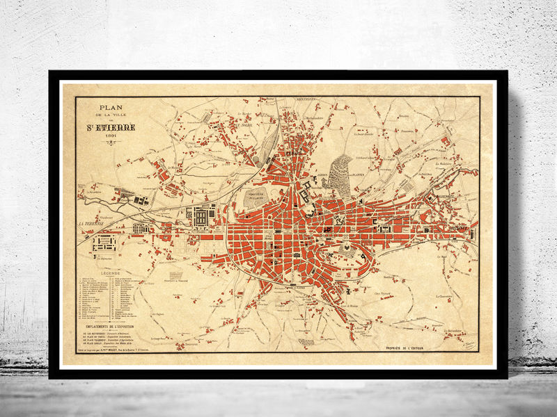 Old Map of Saint Etienne  France 1891 - product image