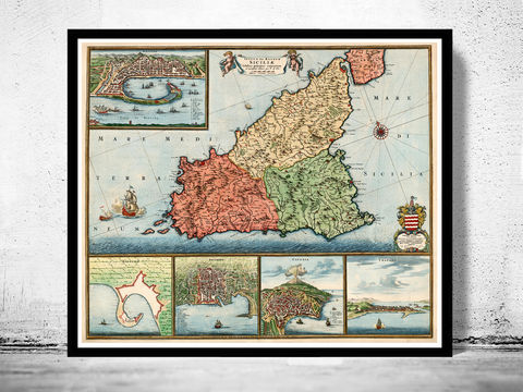 Old,Map,of,Sicily,Sicilia,,Italy,1680,mappa di sicilia, Art,Reproduction,Open_Edition,city_map,retro,antique,Europe,italy,italia,vintage_map,city_plan,old_map,syracuse, siracusa, syracuse map, syracuse poster, syracuse sicily, sicilia